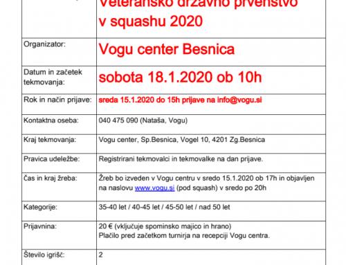 Veteransko državno prvenstvo v squashu 2020